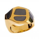 RLM Studio Brass & Hematite Inlay Carved Nugget Ring