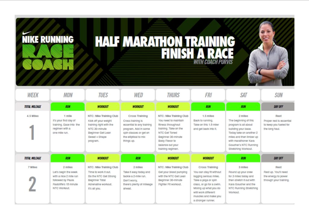 Nike half marathon training