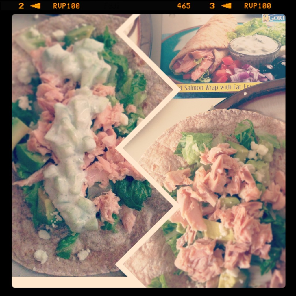 Gorton's Seafood Grilled Salmon Wrap with Fat-Free Tzatziki Sauce